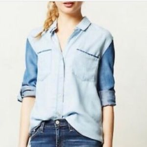 Anthro Cloth + Stone Contrast Chambray Top XS